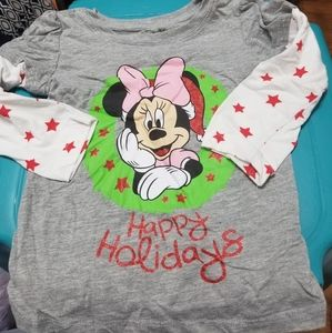 Gray Minnie Mouse Holiday Tee